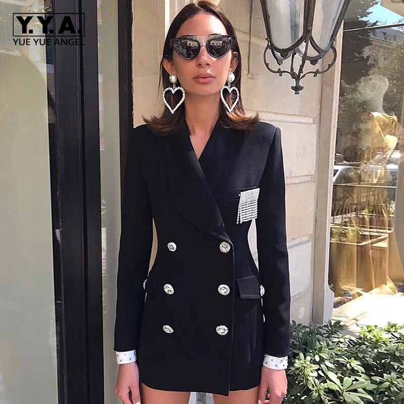 2020 New Winter Lady Double Breasted Rhinestone Blazer Coats Fashion Solid Lapel Collar Outerwear Female Slim Fit Blazer Jacket