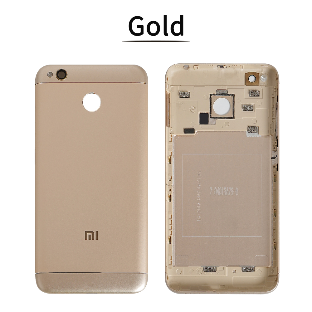 With Glass Lens Side Keys Back Cover For Xixomi Redmi 4X Back Battery Cover Metal Rear Housing For Mi Redmi 4X Battery Door Case