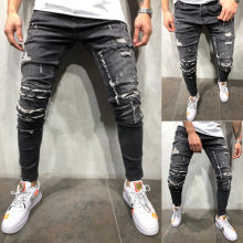 New Mens Jeans Brand Gray Streetwear Skinny Jeans Men Stretch Jean Slim Homme Fit Autumn Pencil Pants Hip Hop Hole Jeans Hombre(China)