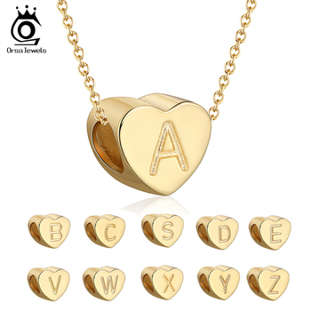 ORSA JEWELS S925 Sterling Silver Letters Necklaces Gold Plated Heart Beads Lucky 26 DIY Necklace Jewelry Girl Gift SCB31 - discount item  45% OFF Fine Jewelry