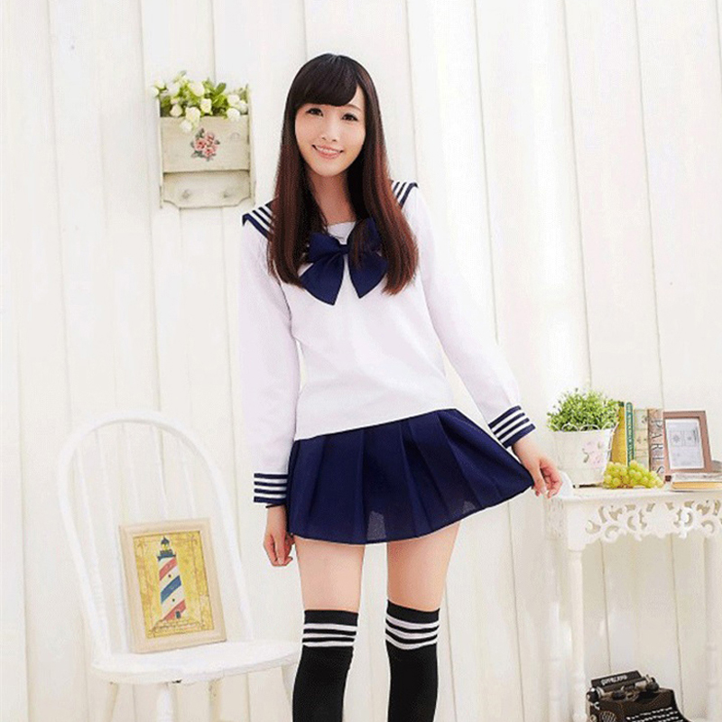 Long Sleeve School Uniforms Sailor Tops+Bow Tie+skirt Navy Style Students Clothes For Girl Lala Cheerleader Costumes