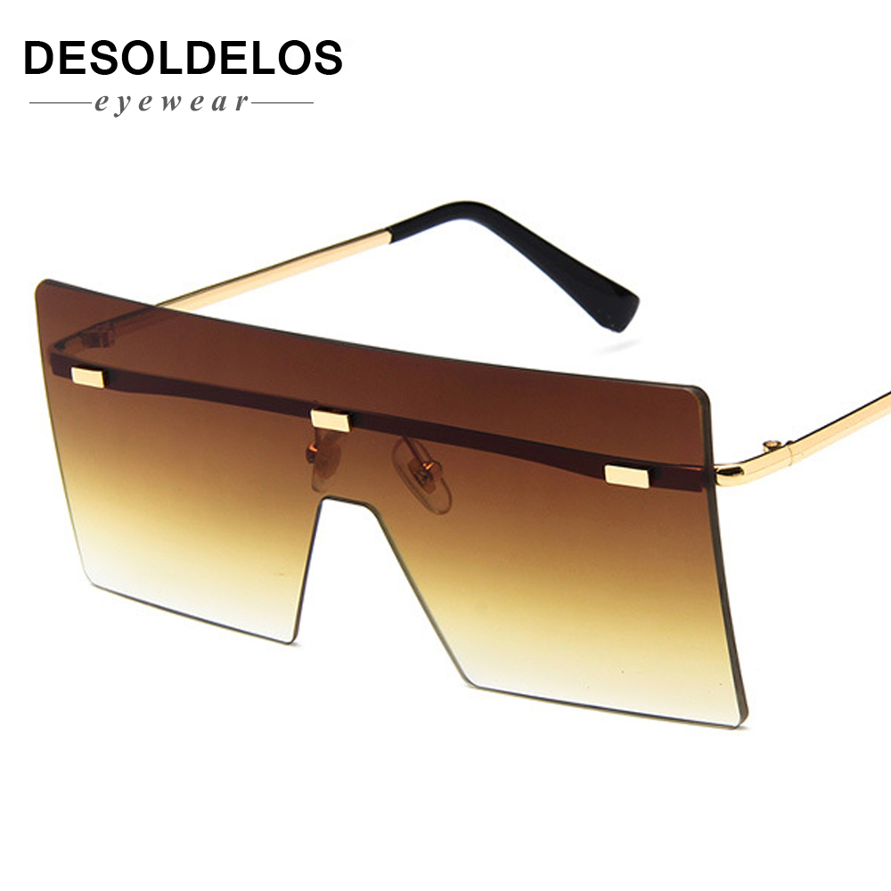 big one piece lens sunglasses women square blue pink brown metal rimless sun glasses for men male 2019 uv400 Desoldelos