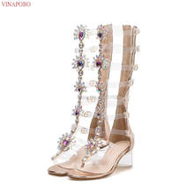 2019 Summer Transparent High Heel Gladiator Sandals Gold Rhinestone Knee High Boots Buckle Strap Woman Crystal Beach Shoes(China)