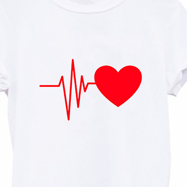 Blouse Women Vintage Shirt Fashion Women's Loose Short-sleeved Heart Prinshirt Casual O-neck Top Blusas Mujer рубашка женская 5