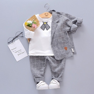 Image 5 - ילדי עניבת בלייזר פורמליות כותנה אדון מזדמן בגדי אביב סתיו תינוק ילד ילדה מעיל חולצה מכנסיים 3 יח\סט תינוקות סט