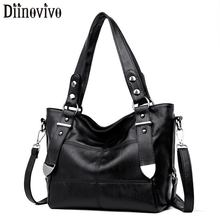 DIINOVIVO Luxury Handbag Women Large Tote Bags Rivet Messenger Crossbody Soft Ladies Casual Shoulder WHDV1276