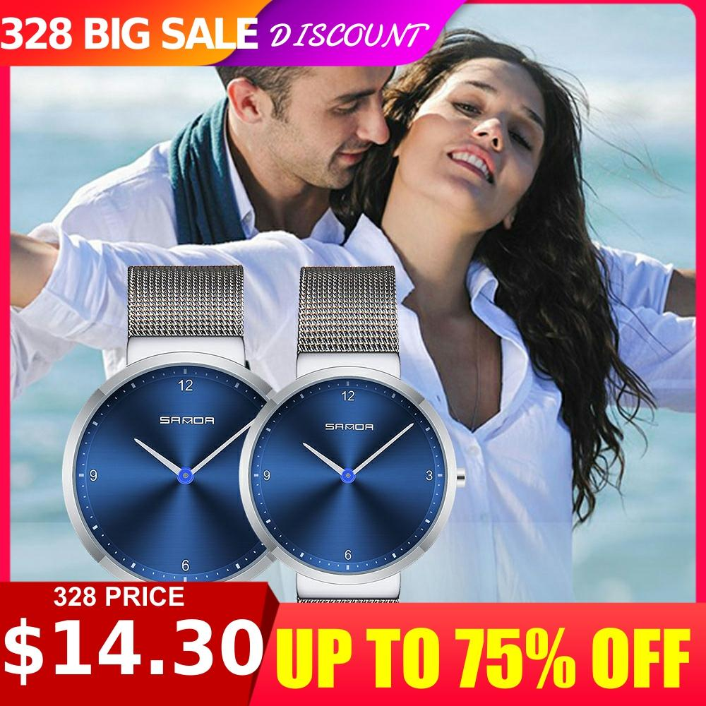 Fashion Minimalist Style Ultra-Thin Mesh Couple's Watch Waterproof Explosion Models Quartz Women's Men's Watch Lover Gift