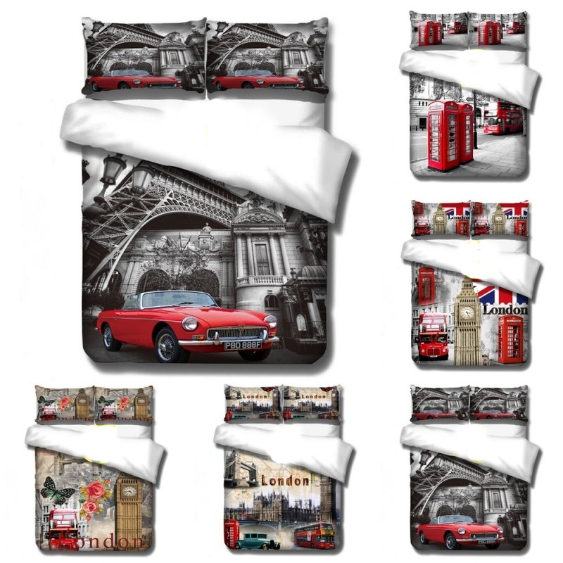 England Retro Bell Tower Car Fashion 3D Digital Printing Bedding Set Duvet Cover Pillowcases Baby Boys Twin Full Queen King
