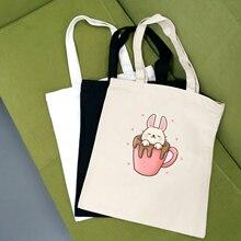 Canvas Bag Tote Animals Reusable Cotton Eco-Cloth-Handbag Grocery Women Cute Art Female