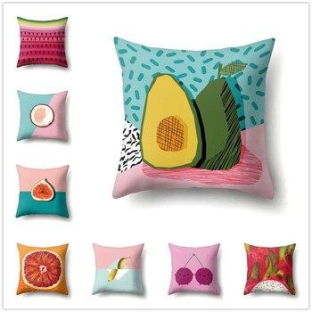 Fruits Cushion Cover Summer Fresh Watermelon Lemon Avocado Print Pillowcase for Sofa Living Room Decor Home Accessories 45x45cm майка print bar summer fruits