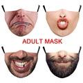 С забавным большим рисунком бороды рот Косплэй Для женщин мужские маски для лица с зашитой от пылезащитные боты для велоспорта уличные пятн...