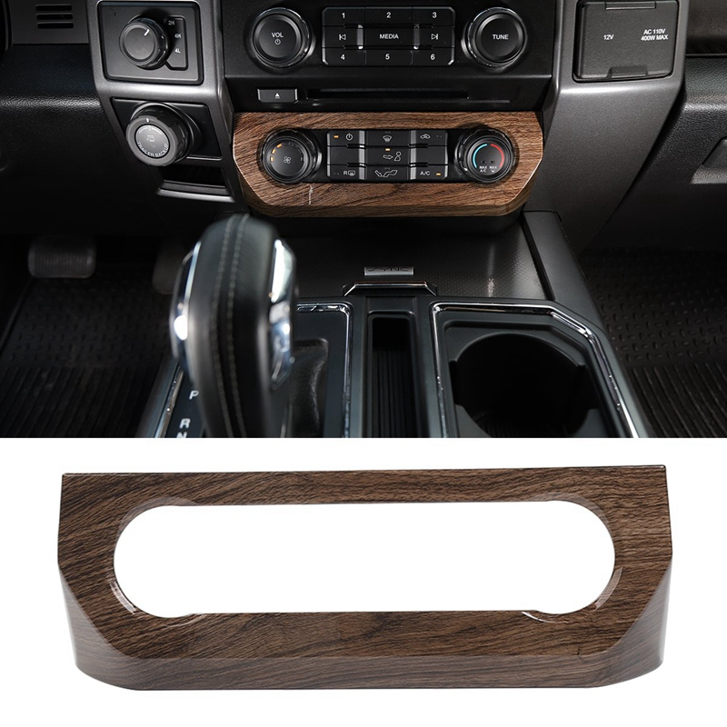 Car Central Air Conditioner Control Panel Covers Ford F150 2015 2016 2017 Car Accessories  Wood Grain|Automotive Interior Stickers| |  - title=