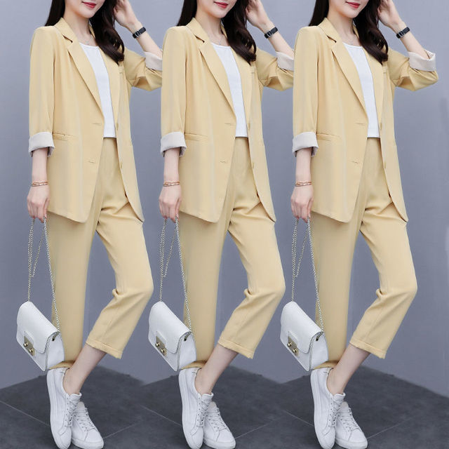 Vintage Women Pant Suit Women Casual Fashion Light Green Notched Blazer Jacket  Pant Office Wear Women Suits Female Sets 4