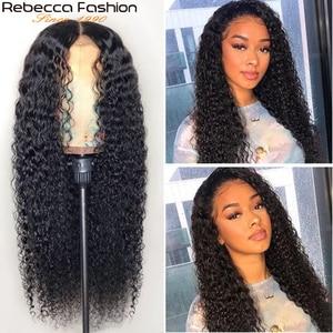 Image 3 - レベッカ150% 変態カーリー人間の髪は女性13X4人毛かつら変態カーリーレースのフロント人間の髪かつら8に30インチ