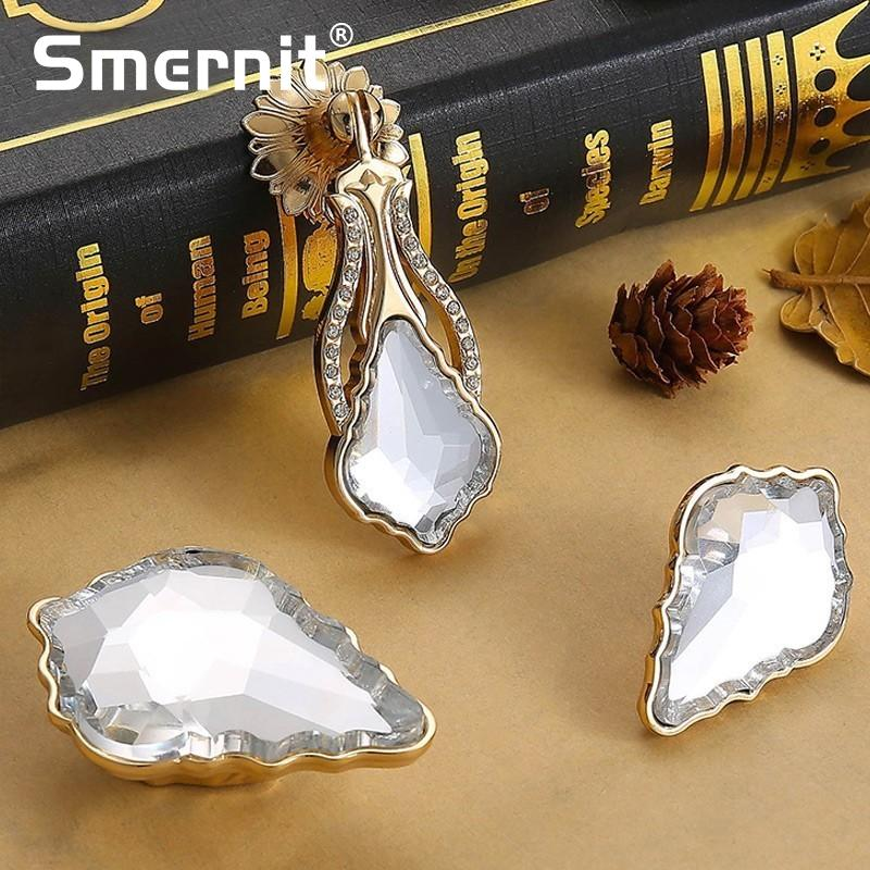 5pcs Noble Door Handles Crystal Kitchen Cabinets Knobs and Handles Diamond Door Handle European Furniture Handle Drawer Pulls