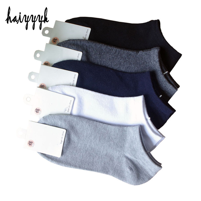 10Pcs=5Pair Solid Cotton Socks Men Invisible Ankle Socks Men Breathable Thin Boat Sock No Show Socks Size EUR 38-43