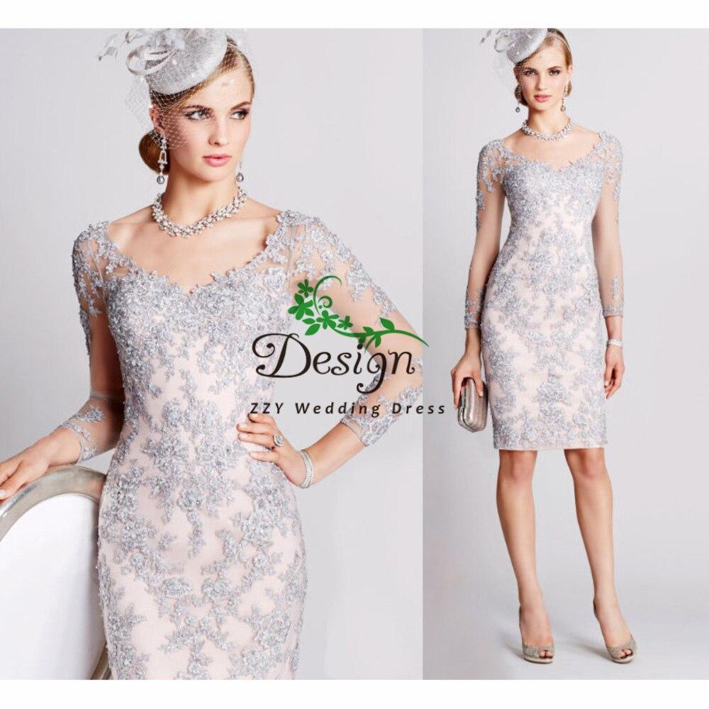 Mère De la mariée robes soirée robes argent manches longues Appliques perles dîner Vestido De Madrinha robe mariée