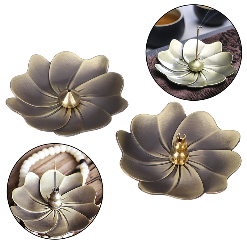 1PC Metal Lotus Backflow Incense Burner Alloy Fragrance Furnace Plate Stand Perfume Flower Shape Home Incense Holder Wholesale