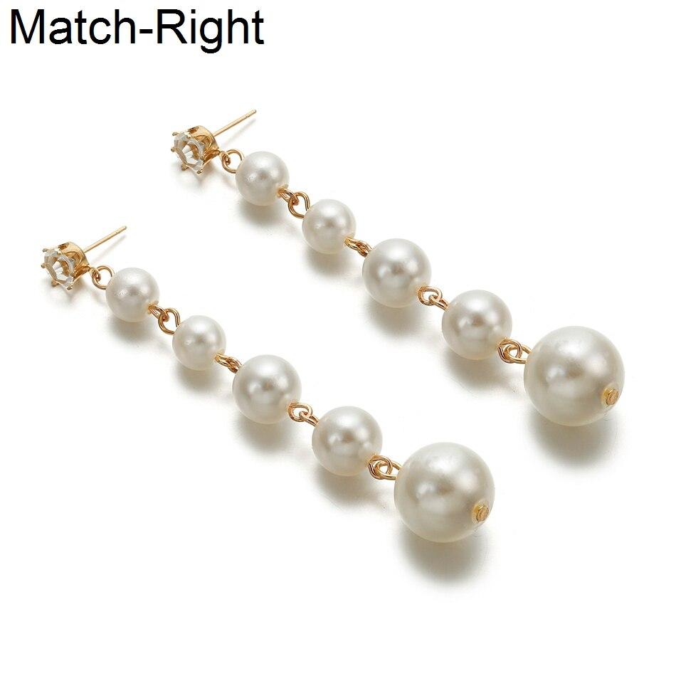 Match-Right Women Statement Long Earrings For Women Korean Pearl Dangle Hanging Drop Earrings Pendant Female Jewelry LX053(China)