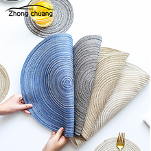 Hand-woven table mat anti-slip mat insulation pad threaded placemat coaster non-slip dish mat table mat 2019 pu leather placemat oil water resistant heat insulation non slip table mat dish bowl holder pad coaster for kitchen table
