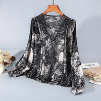 Spring 2020 for European and American women's wear Fashionable patchwork lace printed silk shirt Long sleeved v neck