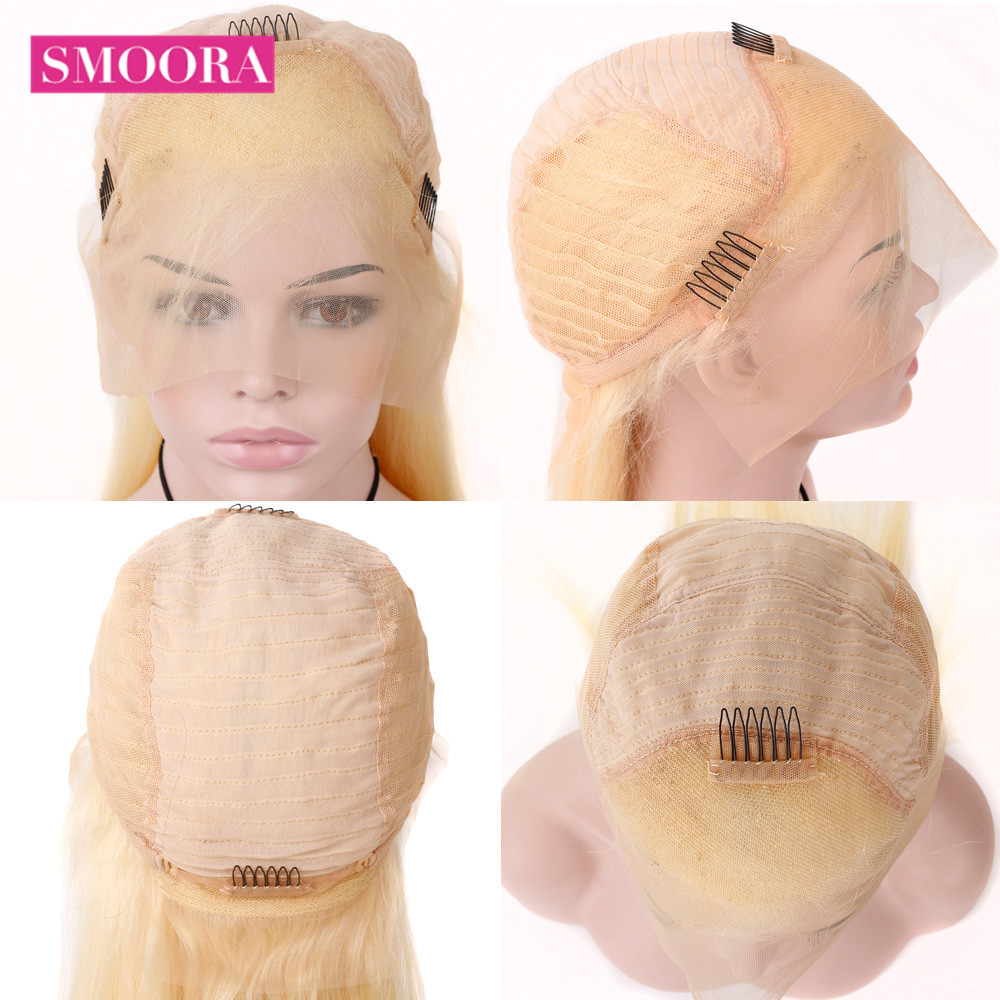 613 Blonde Bob Wigs Transparent 13x4 Lace Front Short  Bob Wigs  Straight  Hair 150% Density 16 inch 6
