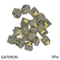 Gateron 5pin interruptores amarelos leitosos preto vermelho marrom azul claro verde 5pin interruptor para o teclado mecânico ajuste gk61gk64 gh60