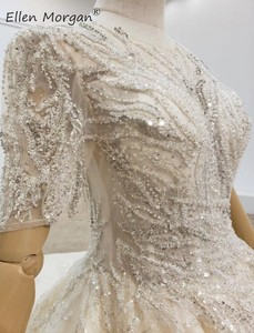 Image 5 - Luxury Crystals Lace Ball Gowns Wedding Dresses for Women Saudi Arabian Elegant Princess Half Sleeves Beaded Bridal Gowns 2020
