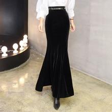 Autumn Winter Black Maxi Skirt Women Vintage Velvet Long Mermaid Skirt With Free Belt Plus Size Elegant Velour Skirt 2295LY