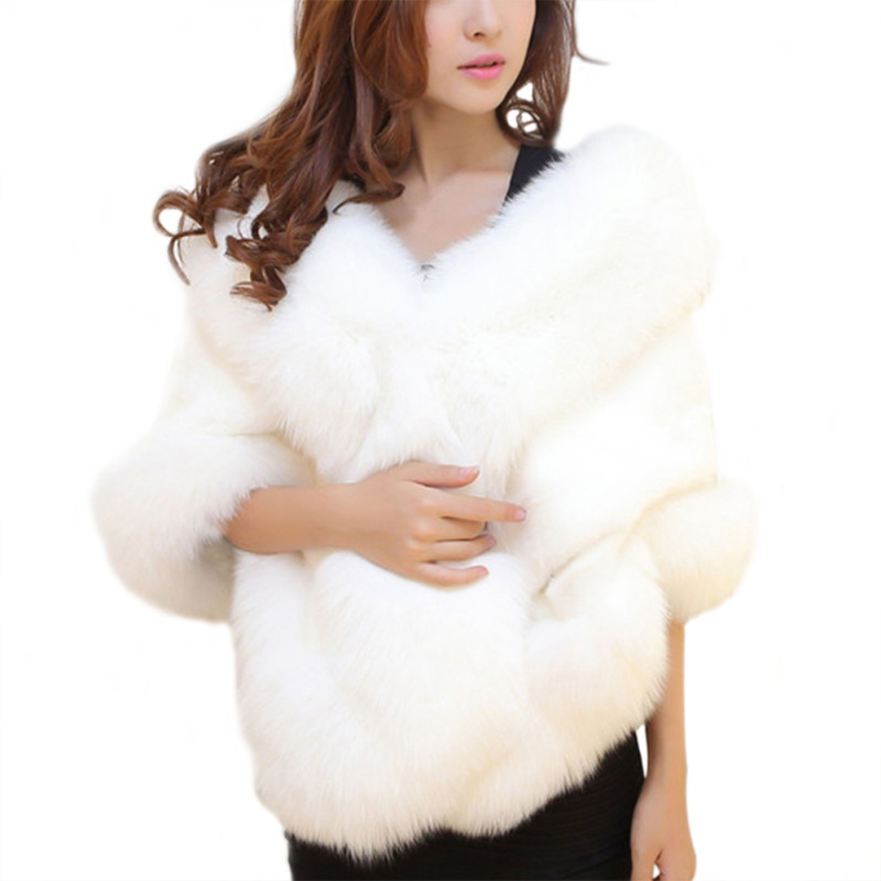 Faux Fur Outerwear Accessorie Women   Scarves     Wraps   Winter Artificial Cape Poncho Elegant Fluffly Warm Fur Neck Warmer   Scarves