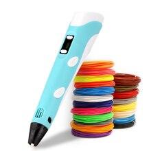 3D 인쇄 펜 DIY 드로잉 펜 LCD 디스플레이 3D 펜 10 색 50 미터 PLA 필 라 멘 트 크리스마스 생일 선물 어린이위한