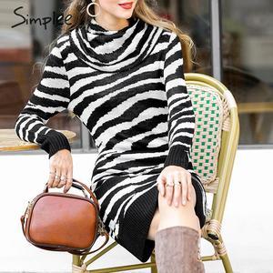 Image 4 - Платье Свитер Simplee с животным принтом; уличная одежда с высоким воротником и карманами; трикотажное платье; повседневное женское прямое мини платье; сезон осень зима