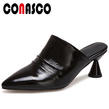 CONASCO 2020 Summer Concise Casual Genuine Leather Women Sandals Slippers Pumps Mules Pleated Solid Color High Heels Shoes Woman