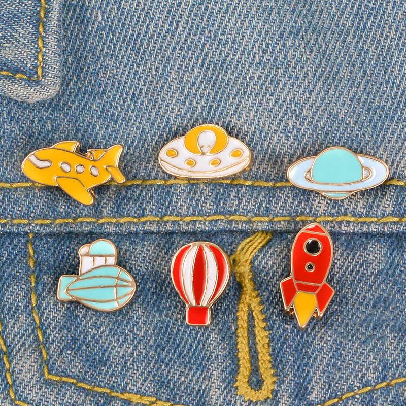 עדין מטוס רוקט קוסמי שטח תג חם אוויר בלון ספינת אוויר עבור בגדי ג 'ינס תגי מתכת אמייל פין מתנות לילדים