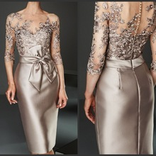 Mother-Of-The-Bride-Dress Long-Sleeves Formal Guest-Gown Lace Knee-Length Wedding Vintage