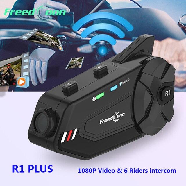 Freedconn R1 Plus Camera HD 1080P WiFi Bluetooth 5.0 Xe Máy Nhóm Liên Lạc Nội Bộ Chống Nước 6 Người Đi FM Bluetooth Mũ Bảo Hiểm Tai Nghe