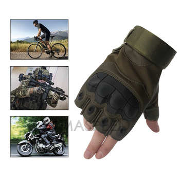 Pair Half Finger Motorcycle Gloves Summer Riding Tactical Hard Knuckle Leather Gloves Motorbike Gloves Men Off Road Biker Racing 2