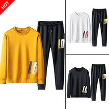 Tracksuit Men Set Contrast Stripes Sweat Jacket+Pants Casual Hoodie Sets Sweatshirt Suit Men Ropa Para Hombre Jogger Suits Men(China)