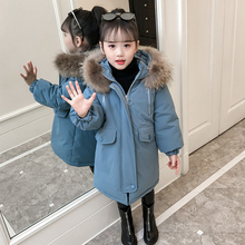 Children Winter Jackets for Girls Cotton Long Coat Parka 2019 New Hooded Zipper Solid Thick Outerwear Girl Kids Winter Clothes цена в Москве и Питере