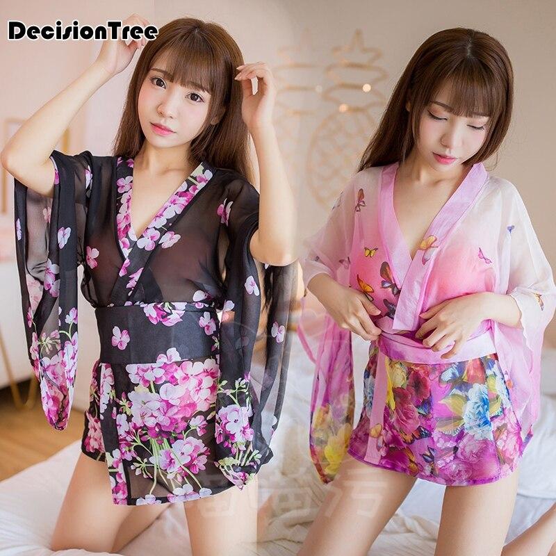 2019 Japanese Style Kaiwaii Yukata Kimono Dress For Women Sakura Haori Transparent Dress Erotic Lingerie Sexy Clubwear