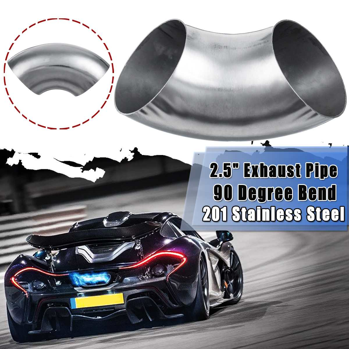 """Universal 2.5""""/63mm Car 201 Stainless Steel Elbow 90 Degree Exhaust Weldable Elbow Pipe Tube Elbow Fittings Bend Car Accessories"""