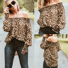 2019 Sexy Women Off Shoulder Leopard Printed Lanter Sleeve Tops Blsoue and Shirt Summer Tshirt