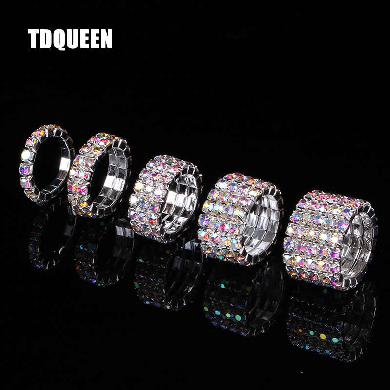 TDQUEEN 1-5 Rows AB Crystal Stone Rings Silver Plated Bridal Wedding Rhinestone Elastic Stretch Rings for Women