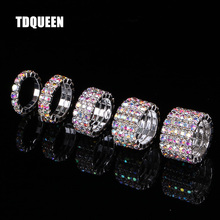 TDQUEEN 1-5 Rows AB Crystal Stone Rings Silver Plated Bridal Wedding Rhinestone Elastic Stretch for Women
