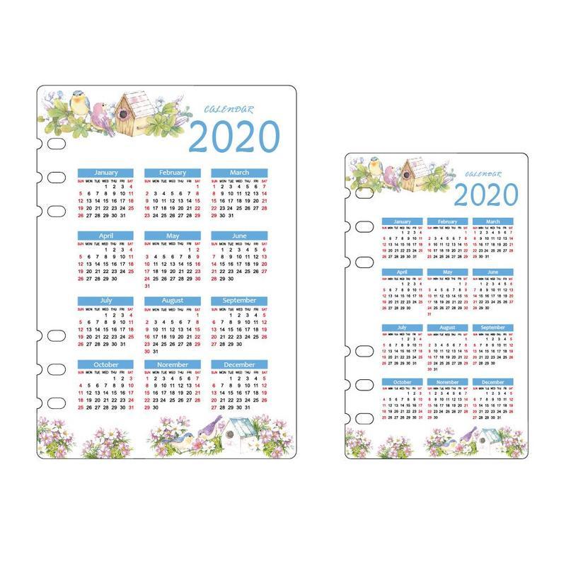 2020 A5 / A6 Calendar Bezel Cute School 6 Hole Pp Index Divider Girl Diary Binder Weekly Plan Notebook Stationery Supplies