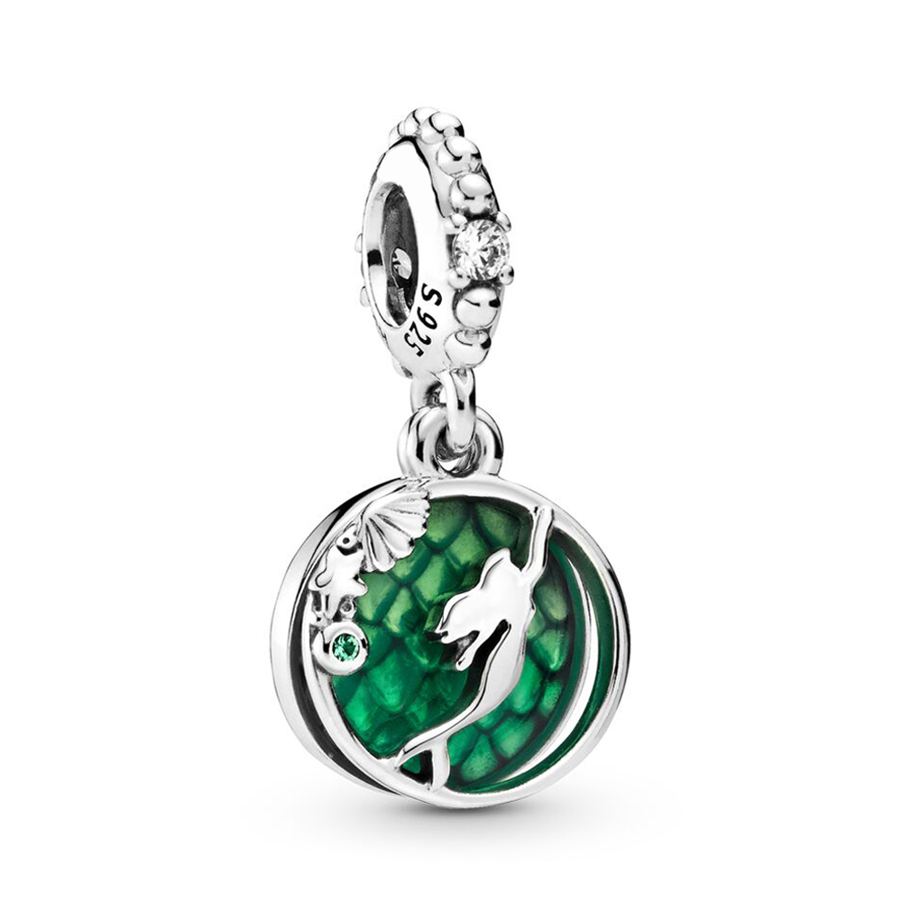 Authentic 925 Sterling Silver Bead Mermaid Ariel Dangle Charm Fit Fashion Women Pandora Bracelet Bangle Gift DIY Jewelry(China)