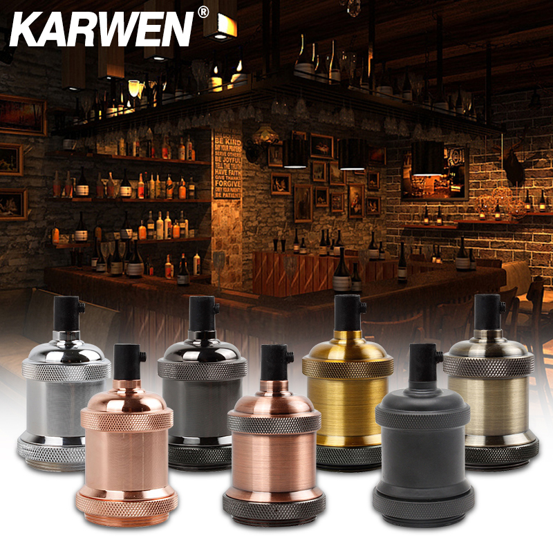 KARWEN Vintage Edison Lamp Holder E27 Screw Bulb Base 110V 220V Aluminum Light Socket Industrial Retro Fittings Lamp Holder Fixture Pendant Lights
