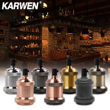 KARWEN Vintage Edison Lamp Holder E27 Screw Bulb base 110V 220V Aluminum Light Socket Industrial Retro Fittings lamp holder Fixture Pendant lights(China)