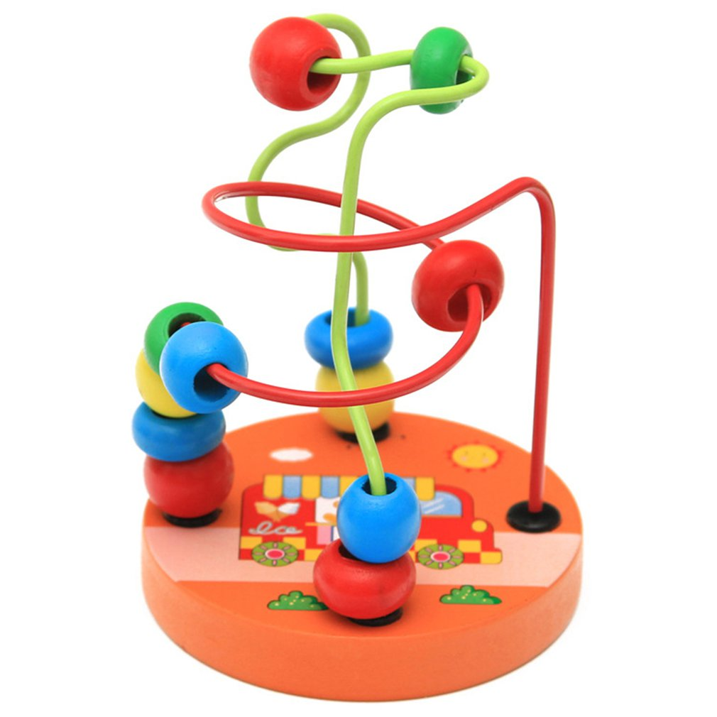 Baby Wooden Math Toy Counting Circles Bead Abacus Wire Maze Roller Coaster Montessori Learning Early Educational Games For Kids