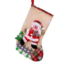 HIGH quality Linen Large Sie Christmas Stocking Gift Holders Holiday Party Fireplace Decorations
